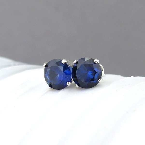Tiny Stud Earrings Sapphire Studs September