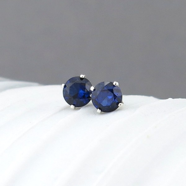 Blue Sapphire Earrings Stud Tiny