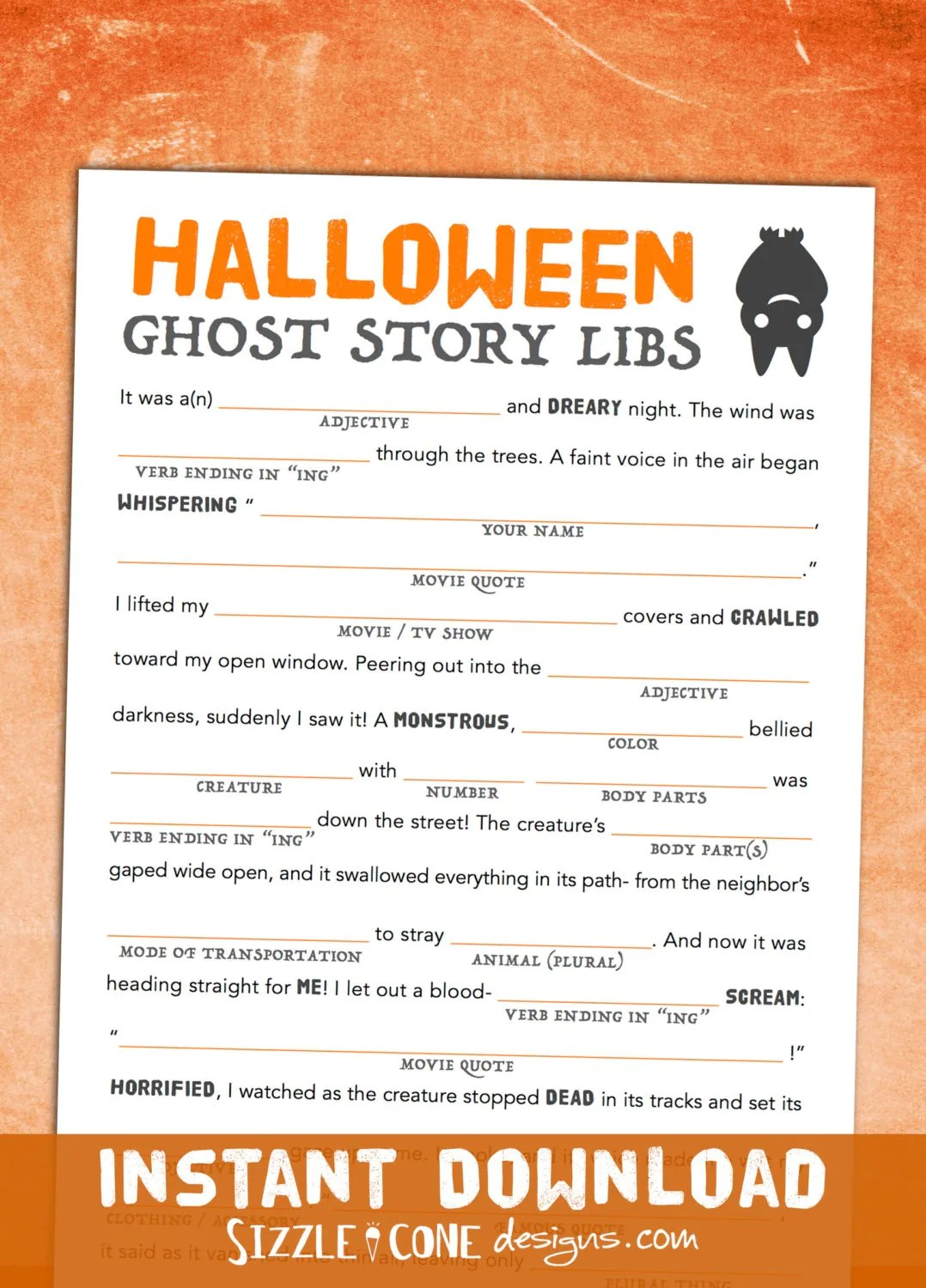 Halloween Mad Libs Game Printable Harvest By