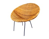 Mid Century Modern Woven Rattan Hoop Chair Woven Wicker ...