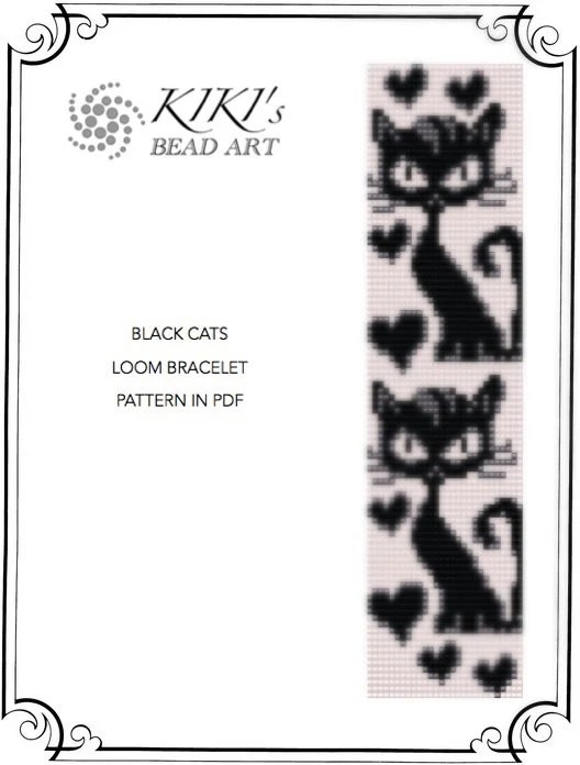 Bead loom pattern Black cats LOOM bracelet by KikisBeadArt
