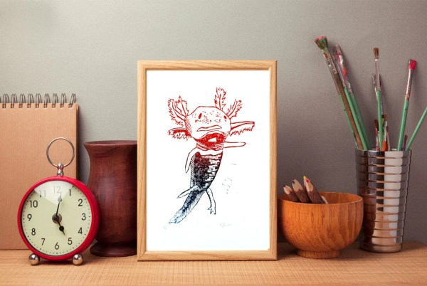 Axolotl Art Print Wall Salamnder Linocut