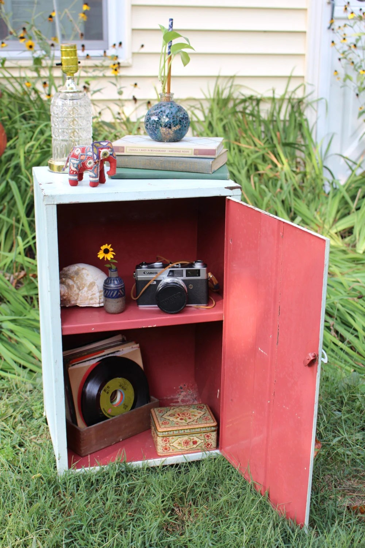 Locker Bedside Table: Vintage Small Metal Storage Locker, Bedside Table, Cabinet