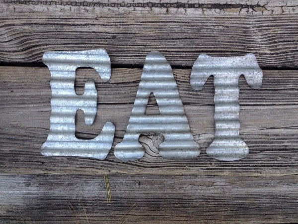 Galvanized Metal Letters Eat Industrial Wall Decor Country