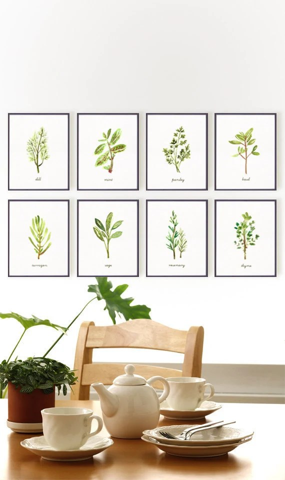 Herb print watercolor painting Botanical chart Kitchen art