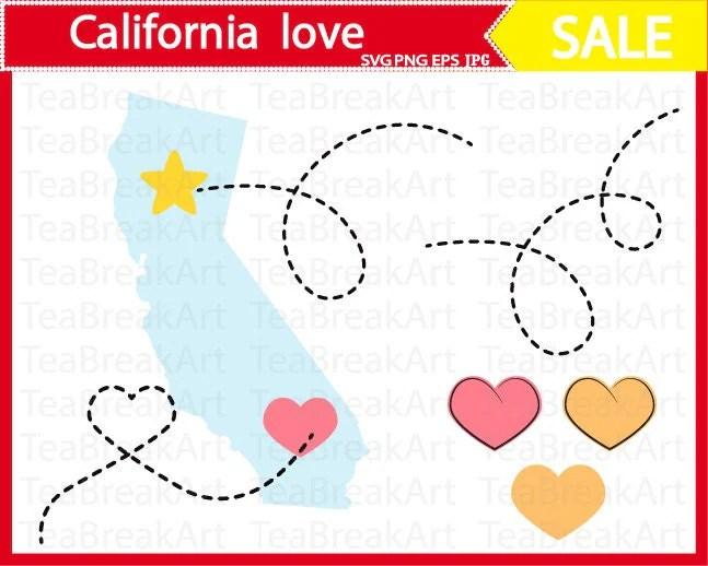 Download California Long Distance Relationship Love Heart Digital ...