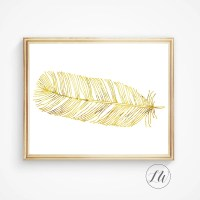 Gold feather art wall art feather printable feather art