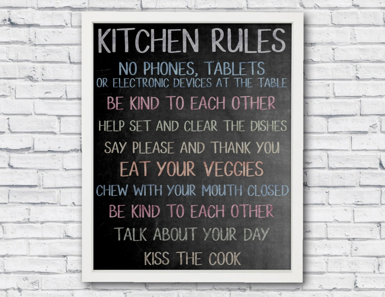 Kitchen rules kitchen sign printable poster chalkboard