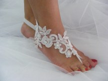 5 In 1 Pack White Lace Beaded Ooak Barefoot Sandals Beach