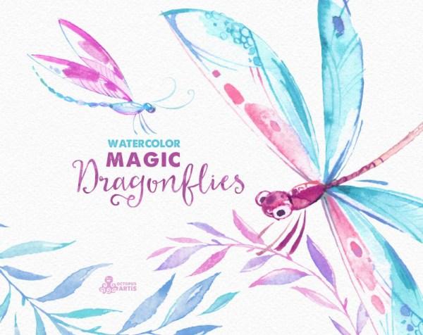 magic dragonflies. watercolor hand