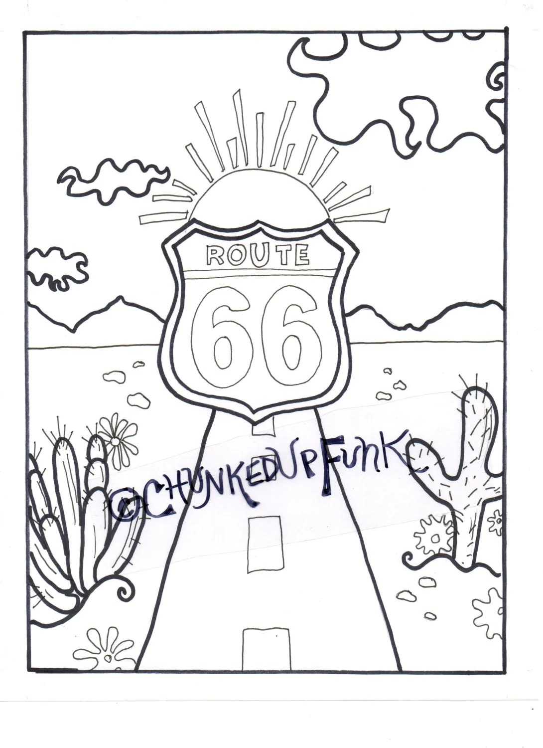 Adult Coloring Book Route 66 New Mexico Arizona