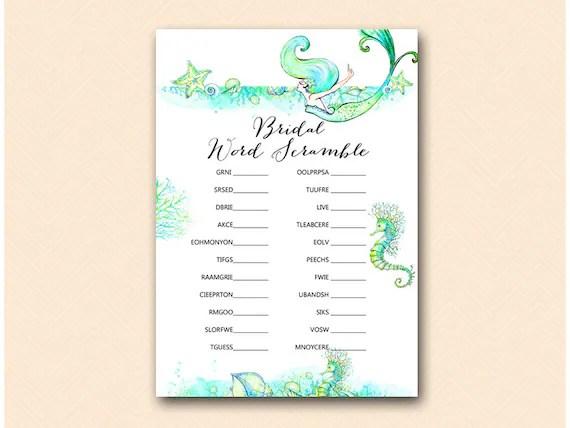 Bridal Word Scramble Game Beach Mermaid Bridal Shower Game