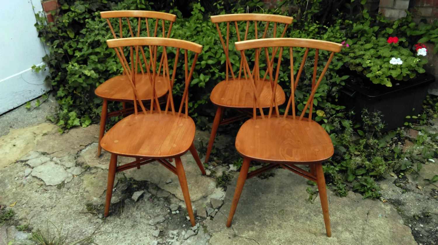 ercol windsor dining table and chairs swivel chair cheap set of 4 376 vintage rare