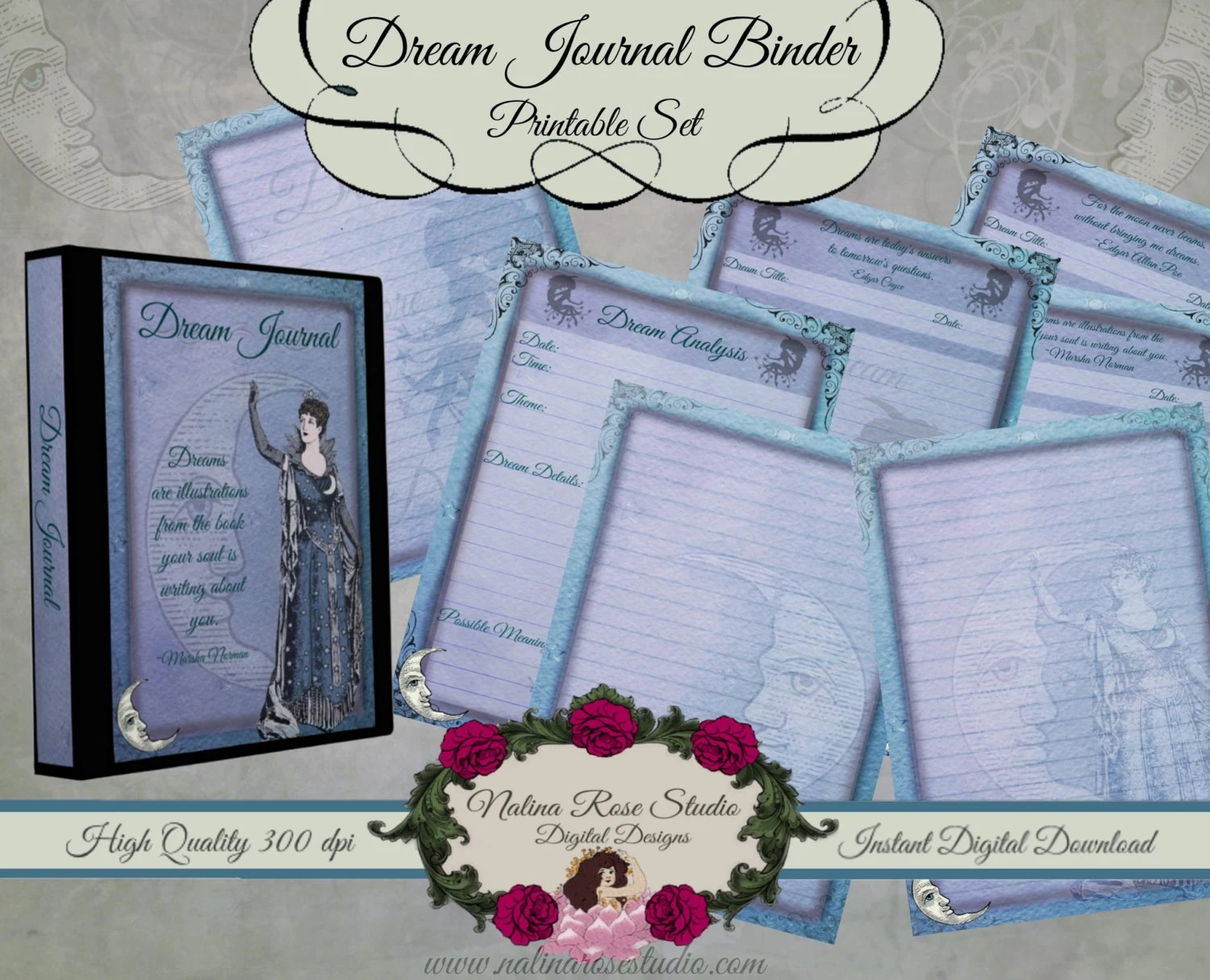 Printable Dream Journal Binder Set Dream Journal Paper Dream