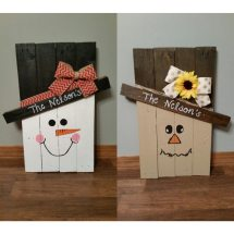 Scarecrow And Snowman Wooden Pallet Decoration Reversible