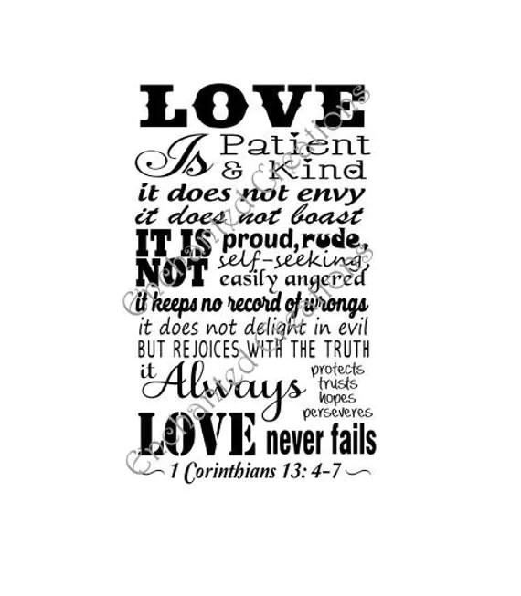 Download SVG file Love is Patient 1 Corinthians 13: 4-7