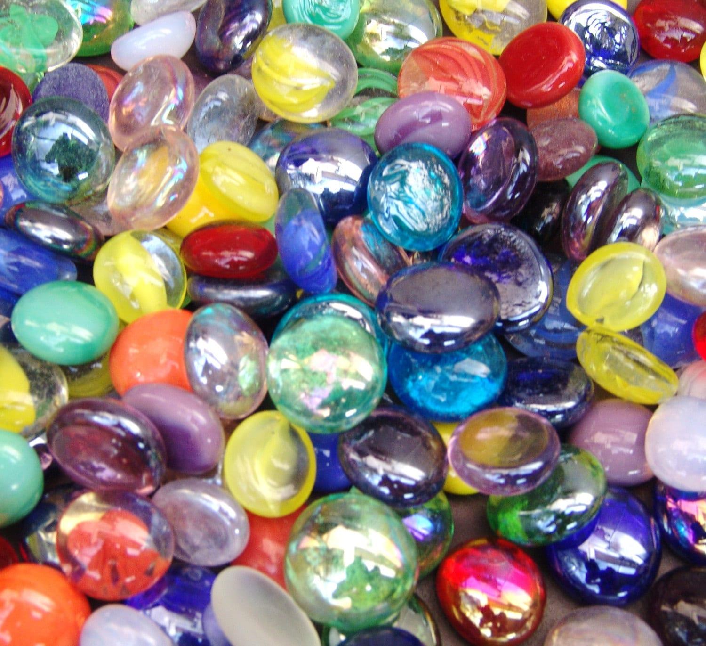 50 Mixed Colors Glass Gems Stones Mosaic Pebbles Centerpiece