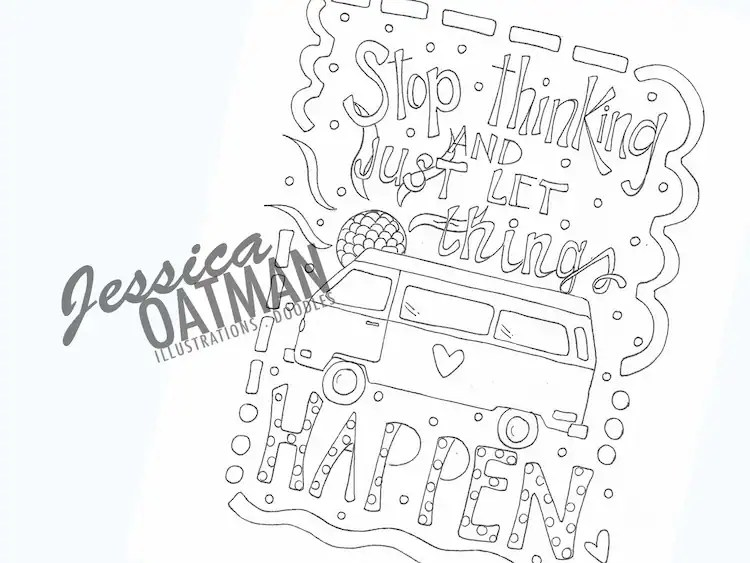 Camper Coloring Page Coloring Pages VW Van by JessicaOatmanArt