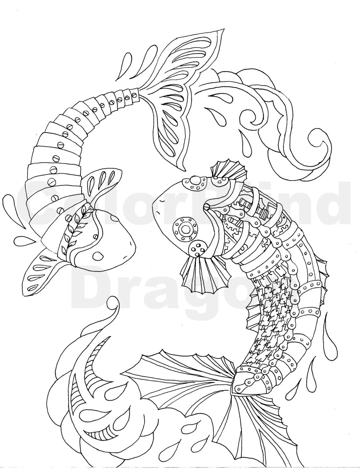 Steampunk Coloring Page fish coloring page koi by