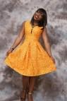 African Print Circle Dress Knee Length Clothing