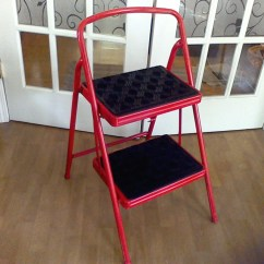 Folding Chair Ladder Sling Patio Kitchen Step Stool Red