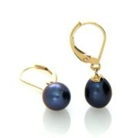 Pearl Leverback Earring Black Pearl Drop Earring Hallmarked