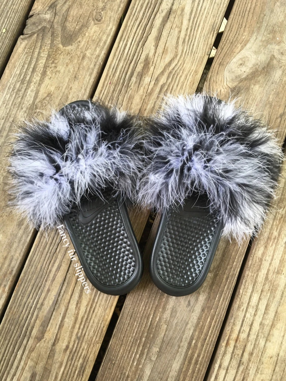 Nike fur slides BlackWhite by Fancyfurslippers on Etsy