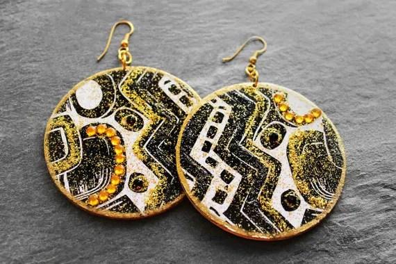 African Earrings Tribal Earrings Tribal Print African
