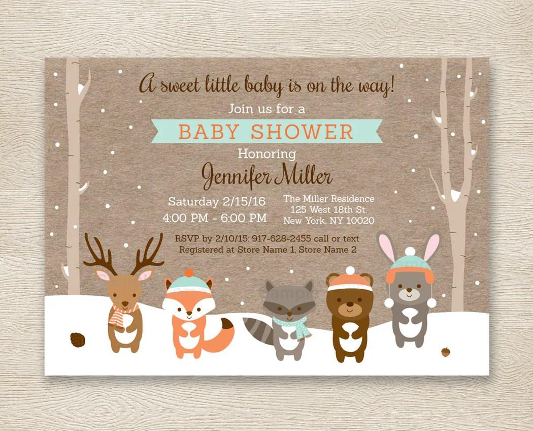 Winter Woodland Baby Shower Invitation Forest Animals