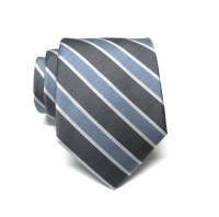Mens Ties Gray Dusty Blue White Stripes Necktie by TieObsessed