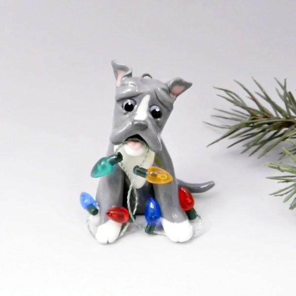 Pitbull American Bulldog Bluenose Christmas Ornament Figurine