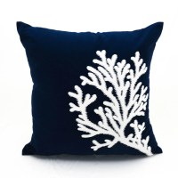 Coral Pillow Case Navy Blue Linen White Coral