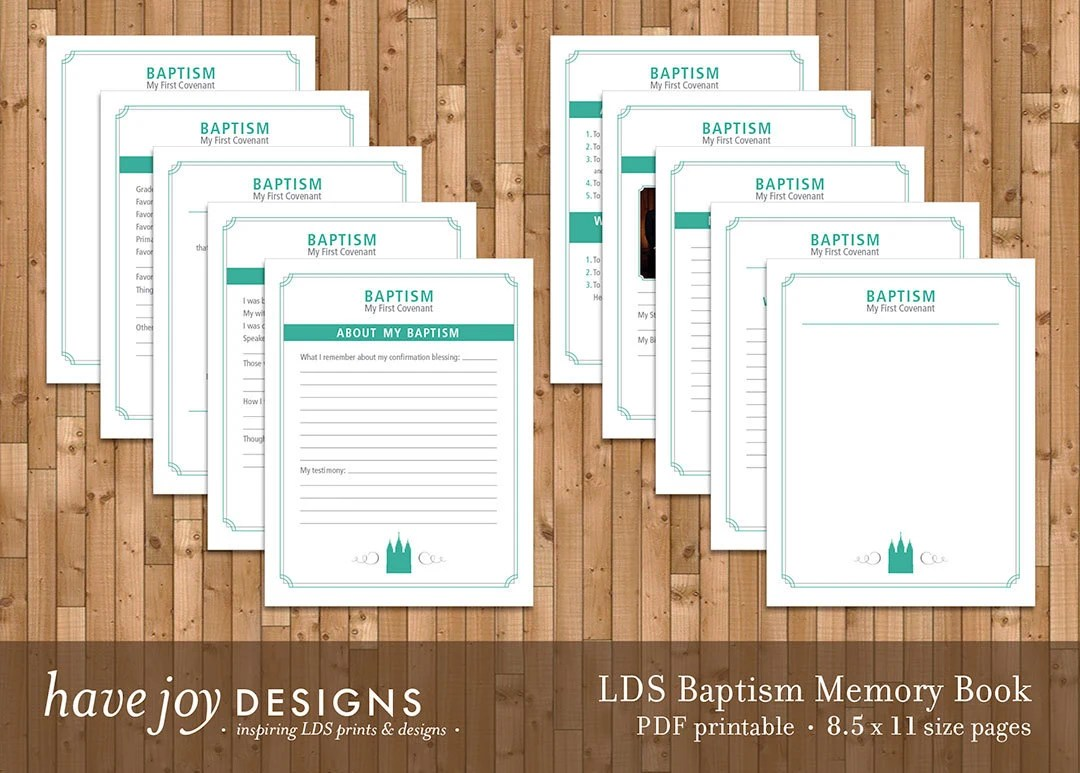 LDS Baptism Memory Book Printable 85 X 11 Size Pages
