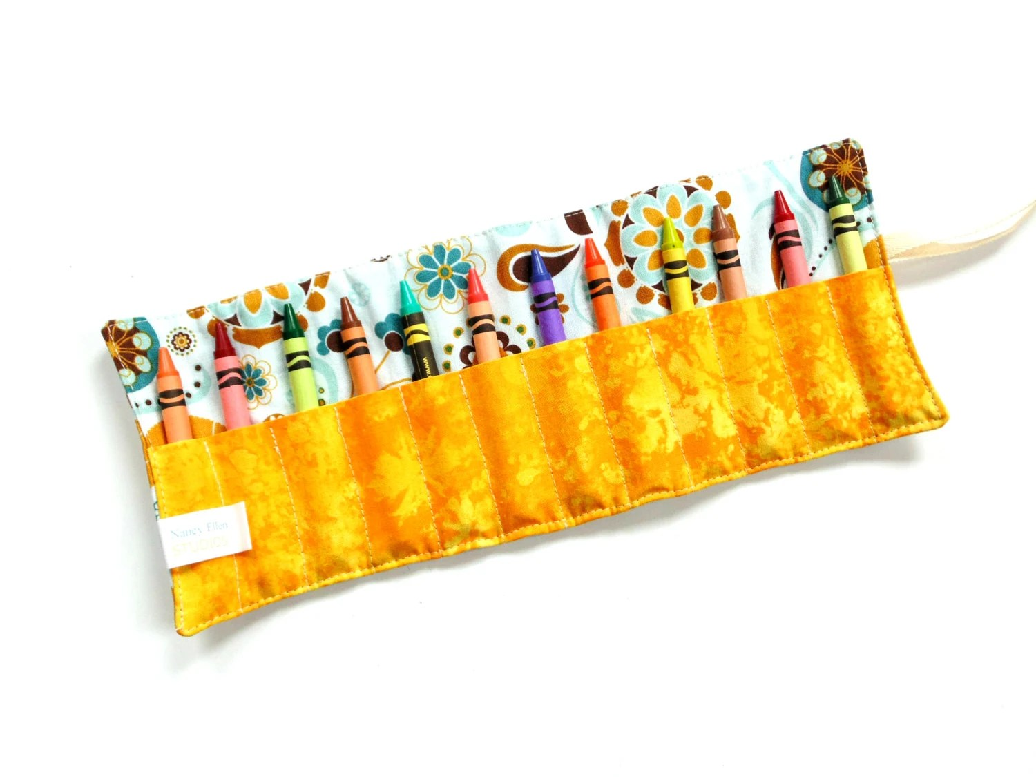 Crayon Roll Large Crayon Wrap Blue Yellow Kids Coloring