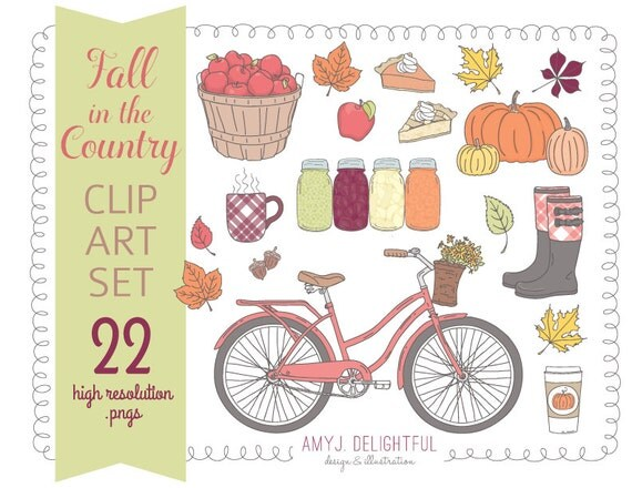 fall in country clip art set