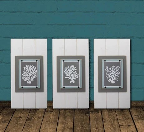 SALECoral Wall Art Set Of 3 White Framed 8x10 Xtra Large