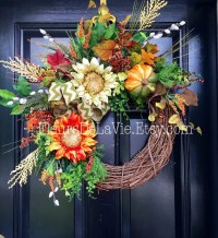 Seasonal Door Wreaths Fall Wreaths Front Door by FleursDeLaVie