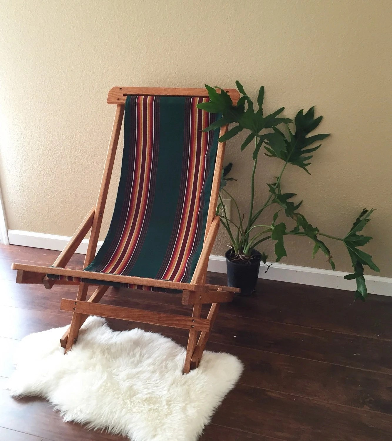 antique beach chair travel baby high seat vintage outdoor folding wooden green striped canvas lawn