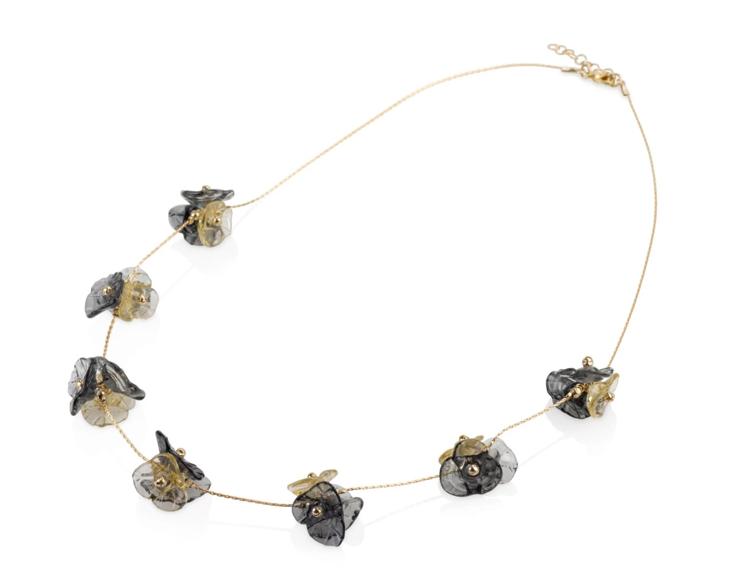 Golden-black lampwork beads and gold-filled handmade necklace