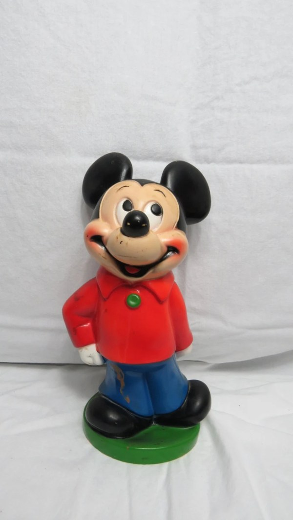 Vintage 1970s Disney Playpal Plastic Mickey Mouse Piggy Bank