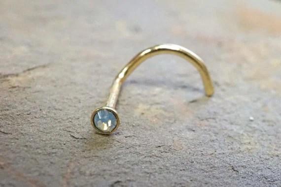 Gold Nose Ring Nose Piering Opalite Corkscrew Nose Ring