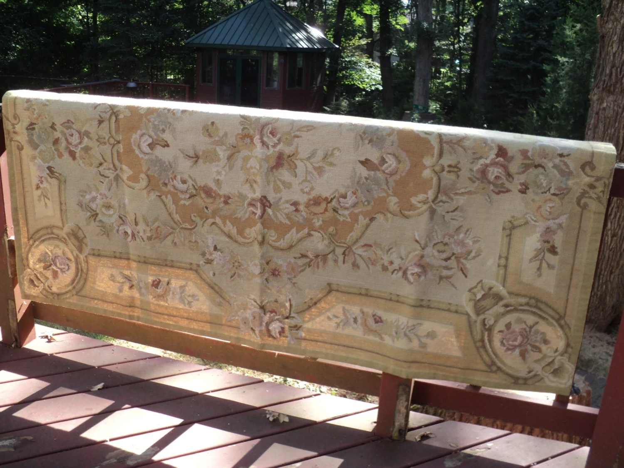 Vintage Needlepoint Area Rug Hand Sewn Needlepoint Tapestry