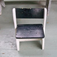 Vintage Child's Stool Chair Black White Wooden Child's