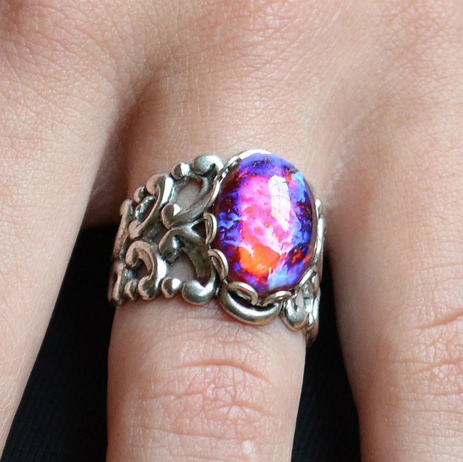 Dragons Breath Ring Mexican Opal Ring Fire Opal Ring