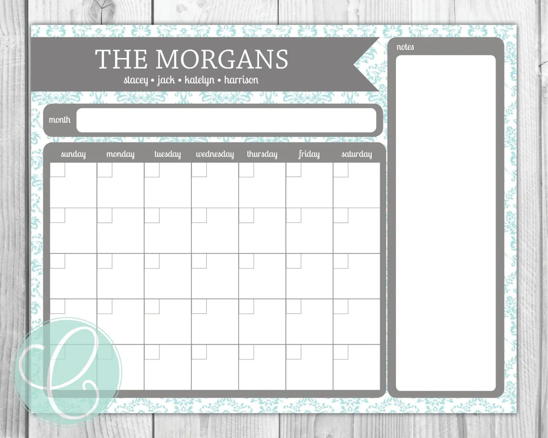 Family Calendar Printable 16x20 Dry Erase By Citruspaperco