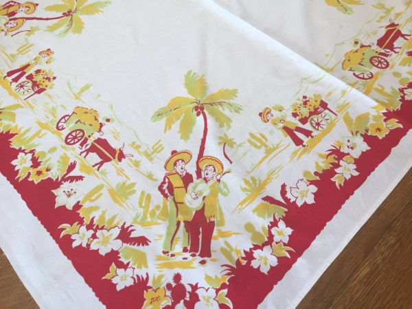 Vintage Mexico Tablecloth Cotton Print Red Yellow White