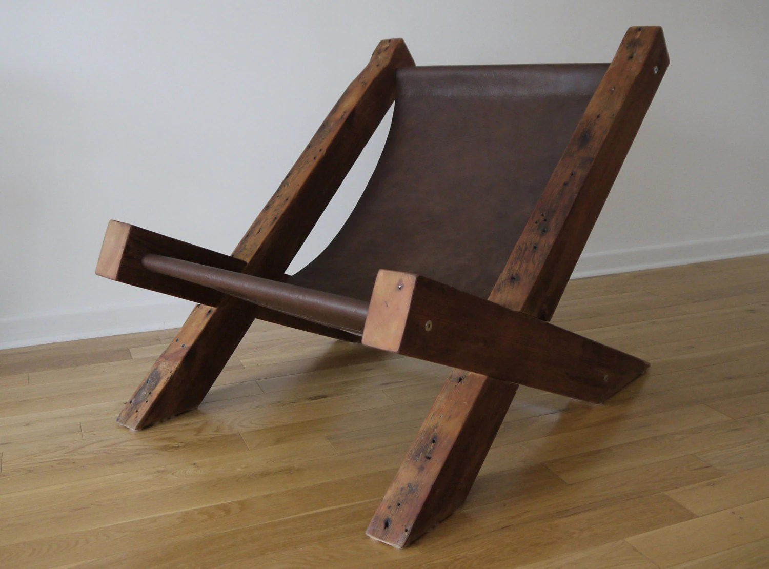 Wooden Lounge Chair Reclaimed Wood And Leather Lounge Chair Handmade Lounge