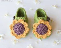 Crochet Pattern Sunflower Baby Booties Hopefulhoneydesign