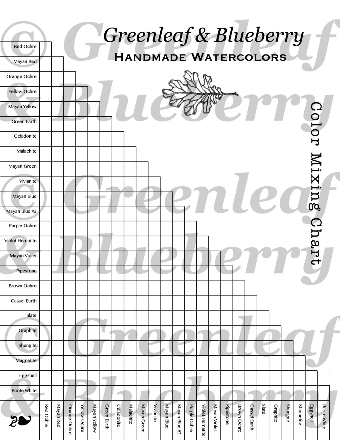 PRINTABLE Greenleaf & Blueberry Blank Color Mixing Chart