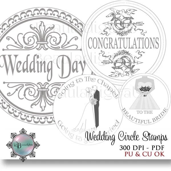 Wedding Circle Sentiment Stamps 2 inch and 1 inch
